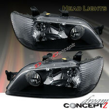 2002 2003 MITSUBISHI LANCER ES LS OZ RALLY BLACK STYLE HEADLIGHTS PAIR