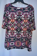 New Charter Club Women's Size 3X Paisley Button 3/4Sleeve Boatneck Tunic Blouse