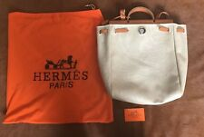 Authentic Hermès Backpack Herbag Kelly Vache Naturally Leather & Toile with COA