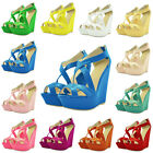 Ladies Girls Patent Platform Peeptoe High Heels Pumps Shoes Sandals UK Size 2-9