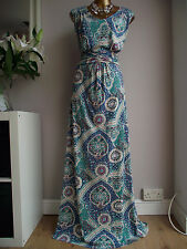MONSOON TEAL GREEN BLUE PURPLE NUDE CREAM MAXI WINTER SUN CRUISE JERSEY DRESS 18