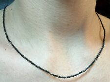 15ct Genuine Black diamonds faceted 2mm 3mm solid 14k yellow gold necklace
