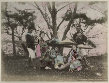 c.1880's PHOTO JAPAN - KAGO IN PUBLIC PARK CHERRY BLOSSOM