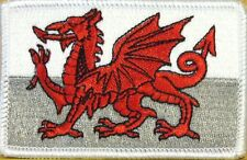 WALES FLAG Embroidered Iron-On PATCH WELSH TACTICAL EMBLEM UK WHITE Border #05