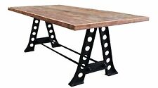 INDUSTRIAL CAST IRON AND RECYCLED WOOD DINING TABLE