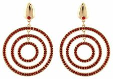 Zest Golden Geometric Circle Pierced Earrings with Swarovski Crystal Red