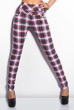Checked Womens Jeans Sexy Ladies Skinny Leather Look Trousers Size M UK Women