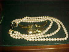 GIVENCHY BIJOUX NEW VINTAGE PEARL NECKLACE GOLDTONE EARRINGS & PIN