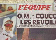 journal  l'equipe 11/02/93 FOOTBALL LE HAVRE MARSEILLE SKI CAROLE MERLE