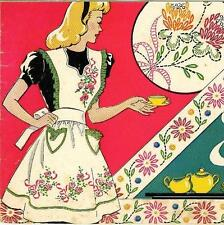 Vintage Hand Embroidery transfer 141 Two Apron PATTERNS Heart Flowers n Clover