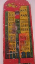 Old Tin Japan Toy Whistle w/ Skyscraper Buildings and Airplane