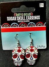 Day of the Dead Dia de los Muertos Sugar Skull Earrings Halloween Costume set
