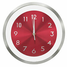 """TKF 12"""" Aluminum Wall Clock with Free Floating Concentric Red Face Dial"""