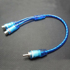 "1PC 7"" RCA Audio Cable ""Y"" Adapter Splitter 2 Female to 1 Male Plug Cable Blue"