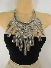 Women Necklace Gold Silver Metal Chain Link Statement Fashion Wide Long Pendant