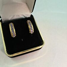 .80 CWT Genuine Tanzanite J-Hoop  10 KT Yellow Gold Post Earrings   New with Tag