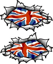 Small Pair Oval Ripped Torn Metal With British Union Jack Flag vinyl car sticker