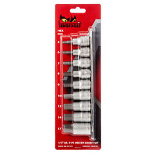 Teng M1212 1/2 sq drive metric socket rail set 9 piece hexagon allen socket 5-17