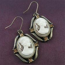 Antique Vintage Style Bronze Tone Plated Cameo Brown Stones Dangle Earring Charm