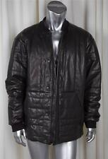 ALEXANDER WANG Mens Black Leather Quilted Puffer Bomber Jacket Coat 52/42 NEW