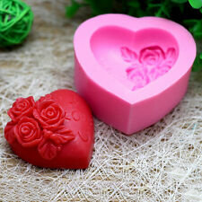3D Silicone Rose Flower I LOVE YOU Loving Heart Mould Fondant Soap Cake Mold