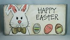 "Happy Easter Bunny Egg Sign Canvas Contemporary Art Decor 12""x6"" Gift"