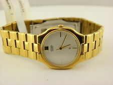 Men's Citizen Gold Plated Watch White Dial (Model: 6030-S04549SMW)