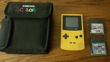 Nintendo Game Boy Color  Yellow Handheld System bundled with 2 games and case!!!