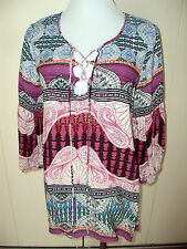 NEW CHELSEA & VIOLET Damsel in Distress Tunic Hippie Bell Sleeve Shirt Womens XS
