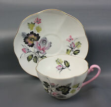 SHELLEY BAILEY'S BLACK GREY FLORAL SPRAYS 2563 WARWICK SHAPE TEA CUP SAUCER RARE