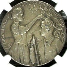 Swiss 1905 Silver Medal Shooting Fest Nidwalden Beckenried R-1031a NGC MS62 Rare