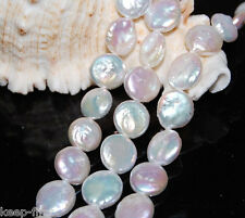 """Genuine 13-14mm Natural White Coin Freshwater Cultured Pearl Loose bead 15""""AAA"""