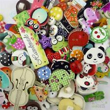 50pcs Bulk Mixed Cartoon Wood Flatback/Buttons Lots Embellish Craft DIY