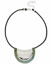 Robert Lee Morris Soho Silver-Tone Patina Crescent Leather Pendant Neclace