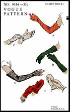 VOGUE 9334 GLOVES GLOVE MITTS Material Fabric Sew GUANTES GUANTI Pattern 6 1/2