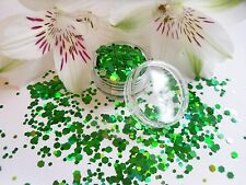 Nail Art Chunky *Emerald* Deep Green Shine Hexagon Glitter Spangles Mix Pot Tips