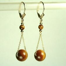 14K solid yellow gold gorgeous natural Tiger's eye earrings leverback