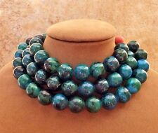 AZURITE MALACHITE TURQUOISE BEADS NECKLACE MULTI STRAND BLUE ISH GREEN CHUNKY