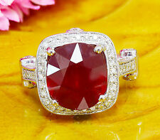 14K WHITE GOLD CUSHION RUBY AND ROUND CUT DIAMONDS RING ANTIQUE DECO 7.80CT