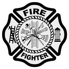 "Fire Fighter Reflective 3"" Black Maltese Cross Firefighter Decal Sticker"