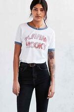 Urban Outfitters JUNK FOOD PLAYING HOOKY TEE White Graphic T-Shirt Top XS