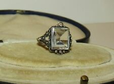 BEAUTIFUL, VICTORIAN, STERLING SILVER RING WITH ROCK CRYSTAL QUARTZ GEM