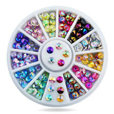 1 box 3D Strass Nagel Sticker Studs Glitter Farbig Nageldesign Dekoration UV Gel