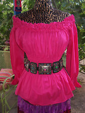 NWT$160~Darling Hot Pink Off  Shoulder Floral Neck Western Peasant Top~S/M~Roja