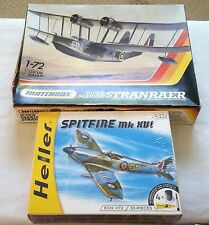 LOT 2 1/72 SCALE WW2 MATCHBOX HELLER MODEL PLANES STRANRAER SPITFIRE MK XVI