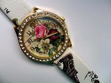 Lovely Flower and  Crystal Faced Quartz Watch  Patterned Strap