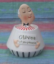 VTG RARE Holt Howard OLIVES  PIXIEWARE MINT CONDIMENT jAR Pot CONTAINER