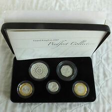 2007 UK PIEDFORT SILVER PROOF 5 COIN SET - boxed/coa/outer