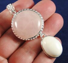 P38 PINK MOONSTONE & WHITE TOPAZ Silver Plated Gem Pendant RRP £20