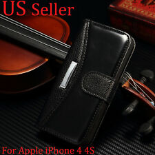 For Apple iPhone 4 4S Hot Vintage Leather Case Magnetic Flip Cover Stand Wallet